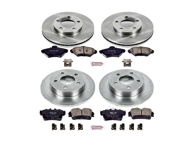 Power Stop OE Replacement Brake Rotor and Pad Kit; Front and Rear (94-98 GT, V6)