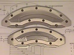 Apex Overlay Gen III Raw Brake Caliper Overlays; Front and Rear (05-14 Standard GT, V6)
