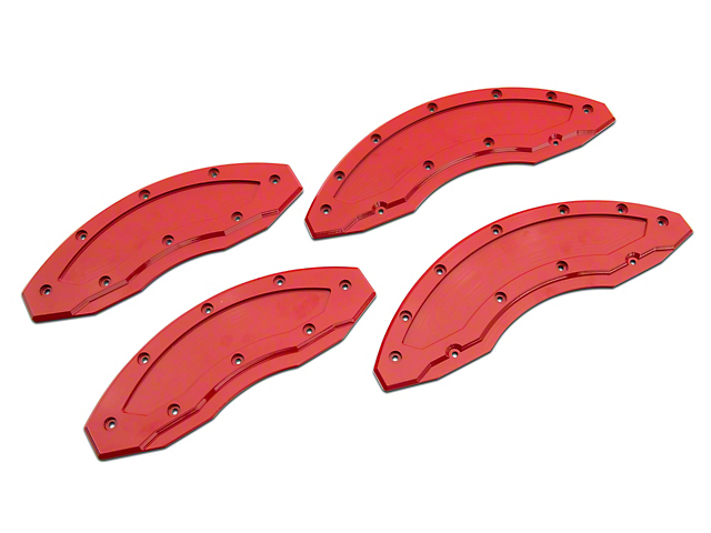 Apex Overlay Gen III Red Brake Caliper Overlays; Front and Rear (05-14 Standard GT, V6)