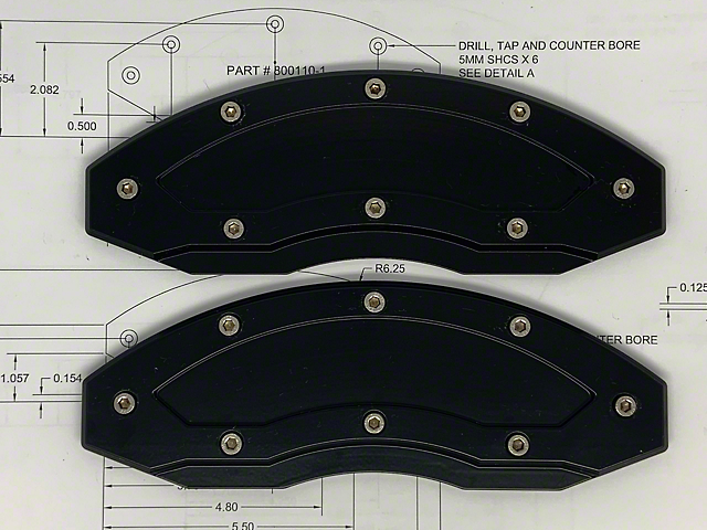 Apex Overlay Gen III Black Brake Caliper Overlays; Rear (05-21 All, Excluding GT350 & GT500)