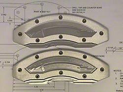 Apex Overlay Gen III Raw Brake Caliper Overlays; Rear (05-21 All, Excluding GT350 & GT500)