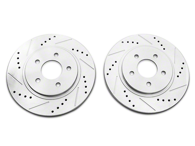 C&L Super Sport Cross-Drilled and Slotted Rotors; Rear Pair (05-14 All, Excluding 13-14 GT500)