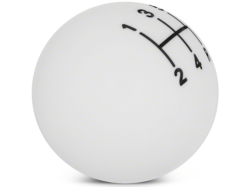 Modern Billet Retro Style 5-Speed Shift Knob; White (05-10 GT, V6)