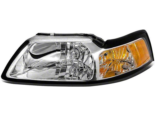 OE Style Headlight; Chrome Housing; Clear Lens; Driver Side (99-04 All)