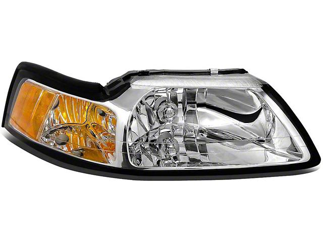 OE Style Headlight; Chrome Housing; Clear Lens; Passenger Side (99-04 All)