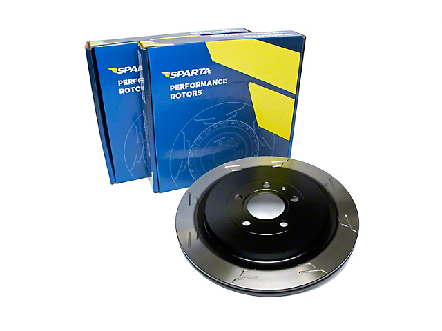 Sparta Evolution GP1 1-Piece Slotted Rotors; Rear Pair (13-14 GT500)