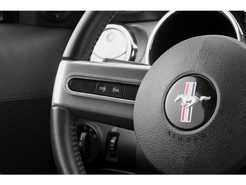 Modern Billet Steering Wheel Button Bezels; Satin (05-09 All)