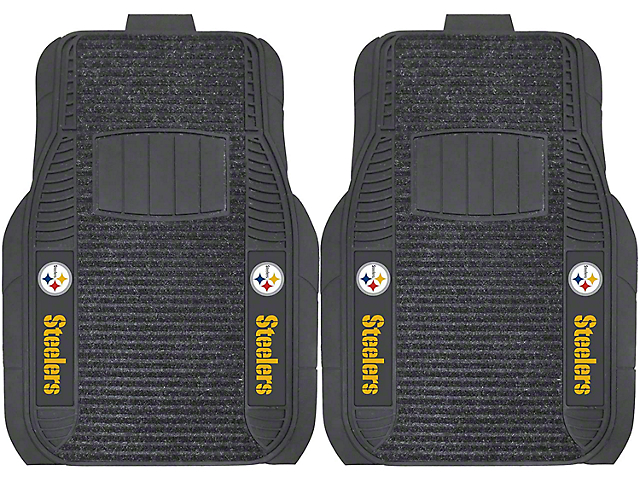 Molded Front Floor Mats with Pittsburgh Steelers Logo (Universal Fitment)