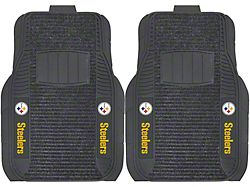 Molded Front Floor Mats with Pittsburgh Steelers Logo (Universal; Some Adaptation May Be Required)