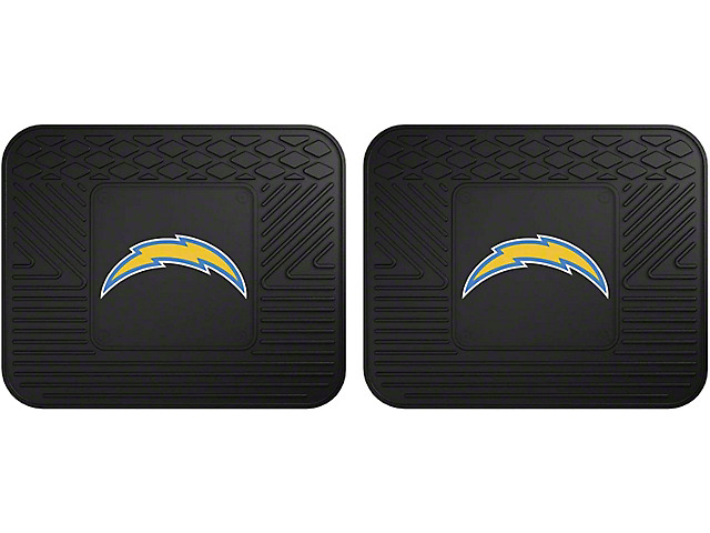 Molded Rear Floor Mats with Los Angeles Chargers Logo (Universal Fitment)