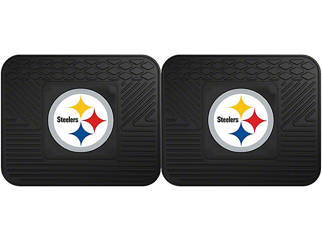 Molded Rear Floor Mats with Pittsburgh Steelers Logo (Universal Fitment)