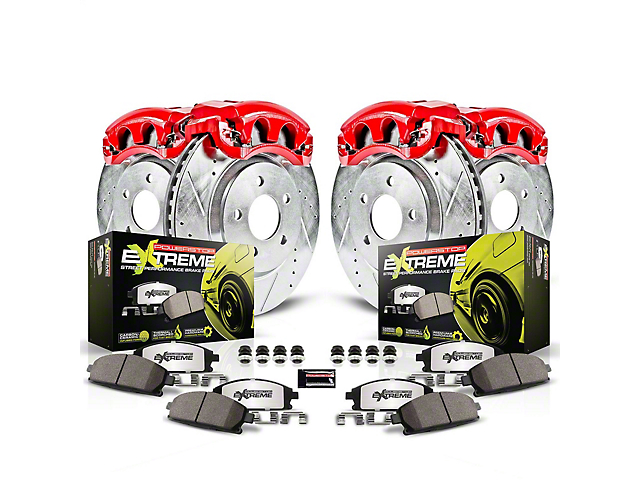 Power Stop Z26 Street Warrior Brake Rotor, Pad and Caliper Kit; Front and Rear (15-21 Standard EcoBoost, V6)