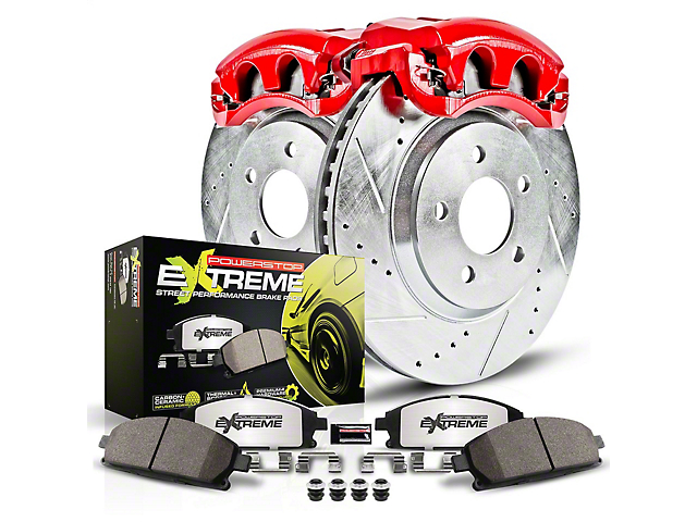 Power Stop Z26 Street Warrior Brake Rotor, Pad and Caliper Kit; Rear (15-21 GT, EcoBoost w/ Performance Pack)