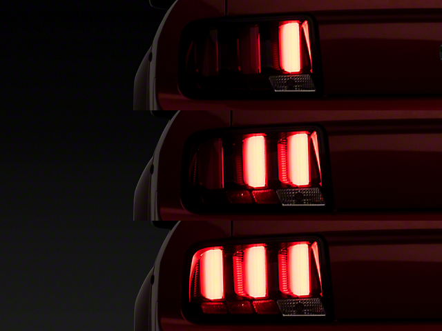 Red Light Bar LED Tail Lights; Black Housing; Clear Lens (05-09 All)