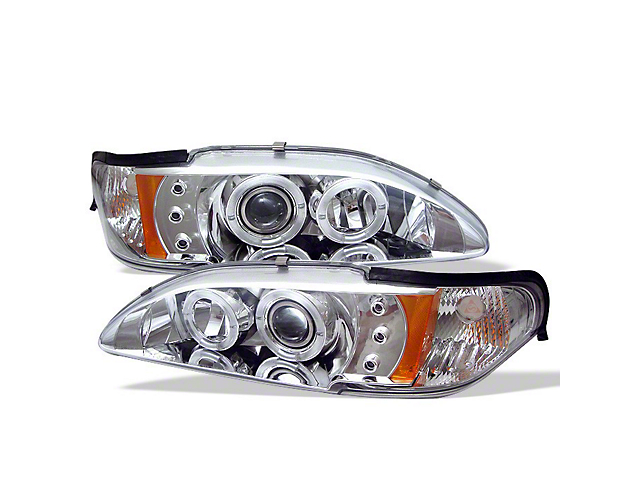Signature Series LED Halo Projector Headlights; Chrome Housing; Clear Lens (94-98 All)