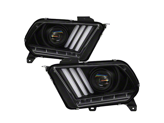 Signature Series Sequential Light Bar Projector Headlights; Black Housing; Clear Lens (10-12 w/ HID Headlights)