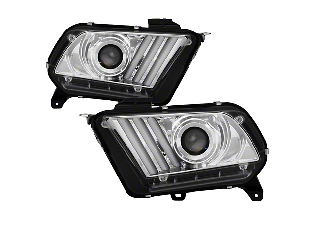 Signature Series Sequential Light Bar Projector Headlights; Chrome Housing; Clear Lens (10-12 w/ HID Headlights)