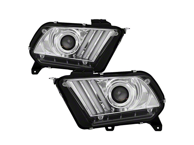 Signature Series Sequential Light Bar Projector Headlights; Chrome Housing; Clear Lens (13-14 w/ HID Headlights)