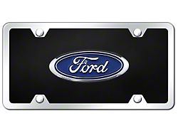 Ford Logo License Plate; Chrome (Universal; Some Adaptation May Be Required)
