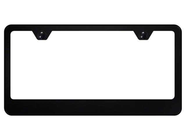 License Frame; 2 Hole Wide Bottom Frame; Black Powder-Coated Stainless