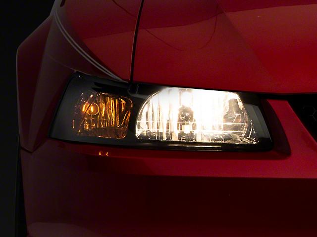 Headlights; Euro; Smoked; Chrome (99-04 Mustang)