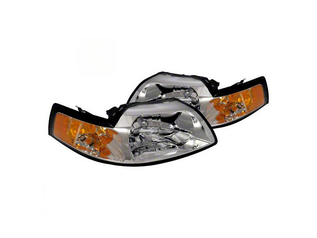 Headlight; Euro; Clear Lens; Chrome (99-04 Mustang)
