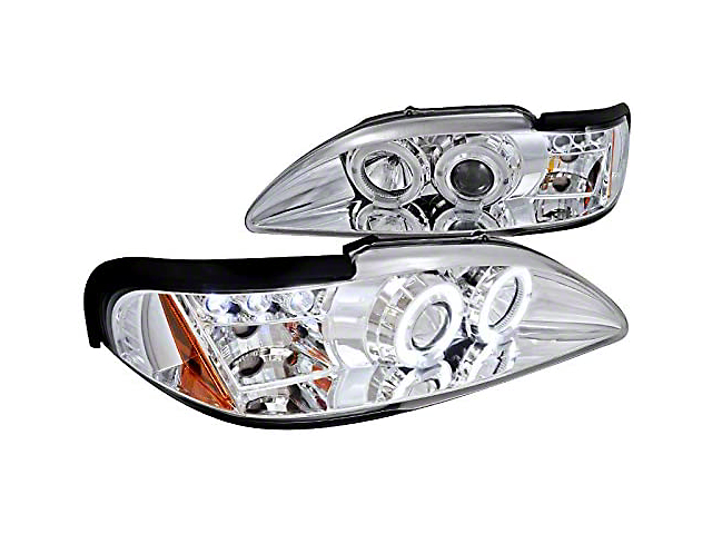 Dual Halo Projector Headlights; Chrome Housing; Clear Lens (94-98 All)