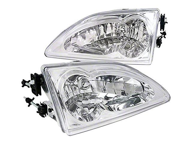 Headlight; Euro; Chrome (94-98 Mustang)