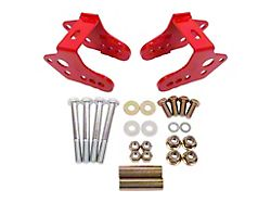 BMR Bolt-On Rear Lower Control Arm Relocation Brackets; Red (79-04 All, Excluding 99-04 Cobra)