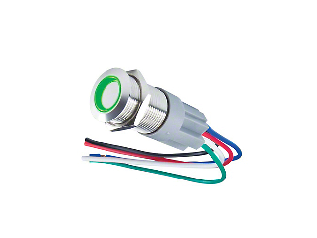 Oracle Switches; Pre-Wired Momentary Flush Mount LED Switch, Green