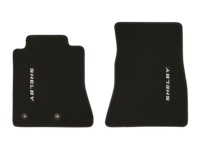 Scott Drake Front Floor Mats with Shelby Logo; Black with Blue Stitching (15-21 All)