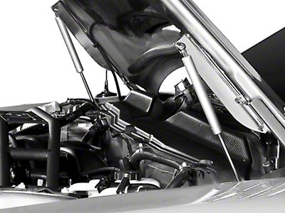 MMD Mustang Bolt On Hood Strut Kit - Carbon Fiber 100336 (05