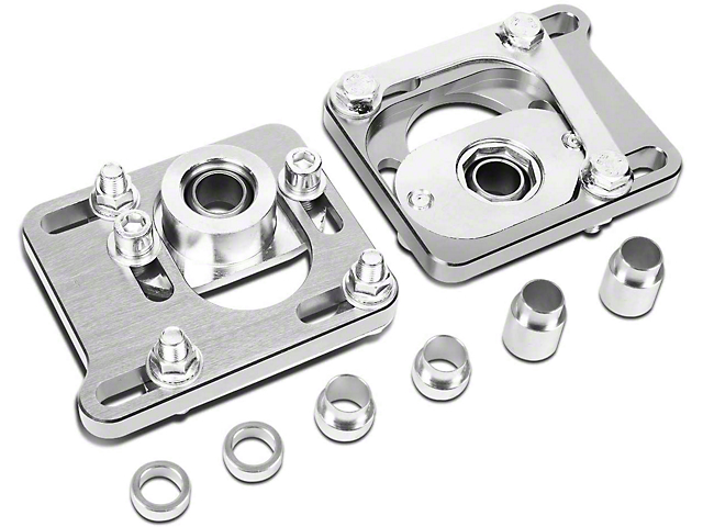 Camber Cast Plate Kit; Front; Silver (94-04 Mustang)