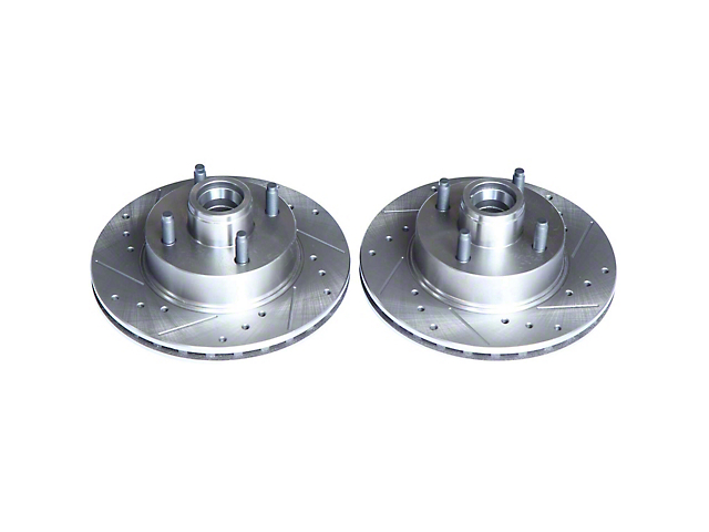 Power Stop Evolution Cross-Drilled and Slotted Rotors; Front Pair (1979 5.0L; 82-86 All, Excluding SVO; 87-93 2.3L)