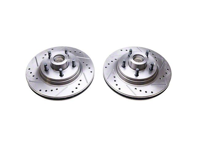 Power Stop Evolution Cross-Drilled and Slotted Rotors; Front Pair (84-86 SVO)