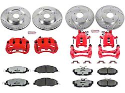 Power Stop Z26 Street Warrior Brake Rotor, Pad and Caliper Kit; Front and Rear (11-14 Standard GT, V6)