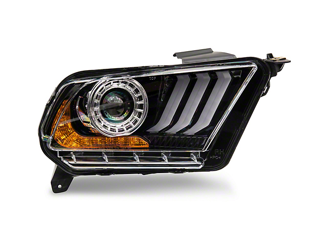 2018 Style DRL Projector Headlights; Black Housing; Clear Lens (10-12 w/ Factory Halogen Headlights)