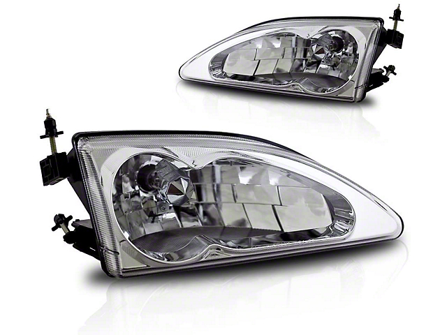 Cobra Style Headlights; Chrome Housing; Clear Lens (94-98 All)