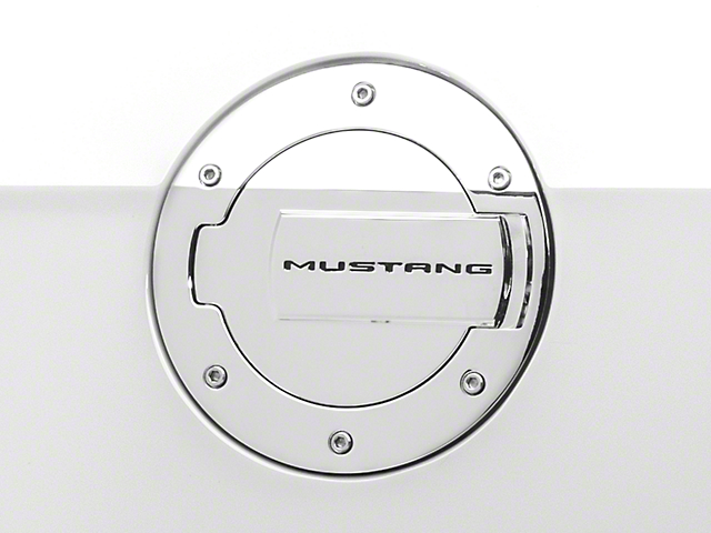 MMD Chrome Billet Aluminum Fuel Door w/ Mustang Lettering (10-14 All)