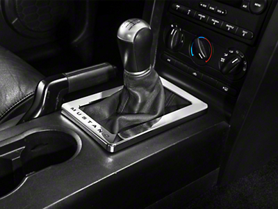 Modern Billet Chrome Shifter Bezel - Mustang Lettering (05-09 w/ Manual Transmission)
