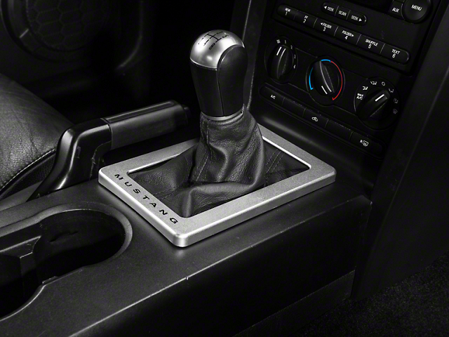 Modern Billet Satin Shifter Bezel; Mustang Lettering (05-09 w/ Manual Transmission)