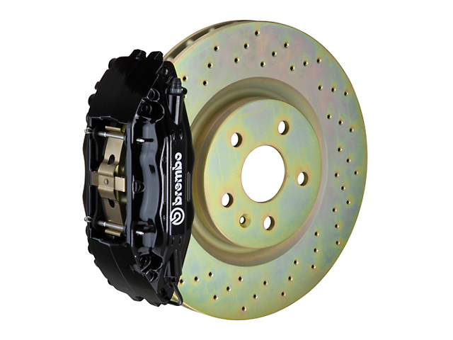 Brembo GT Series 4-Piston Front Big Brake Kit with 14-Inch 1-Piece Cross Drilled Rotors; Black Calipers (05-14 Standard GT, V6)