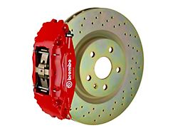 Brembo GT Series 4-Piston Front Big Brake Kit with 14-Inch 1-Piece Cross Drilled Rotors; Red Calipers (05-14 Standard GT, V6)