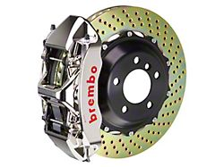 Brembo GT Series 6-Piston Front Big Brake Kit with 14-Inch 2-Piece Cross Drilled Rotors; Nickel Plated Calipers (05-14 Standard GT, V6)