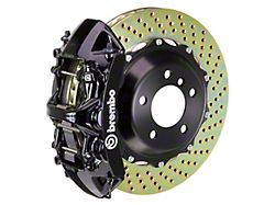 Brembo GT Series 6-Piston Front Big Brake Kit with 15-Inch 2-Piece Cross Drilled Rotors; Black Calipers (05-14 Standard GT, V6)