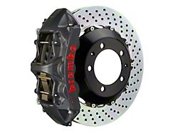 Brembo GT-S Series 6-Piston Front Big Brake Kit with 15-Inch 2-Piece Cross Drilled Rotors; Black Hard Anodized Calipers (05-14 Standard GT, V6)