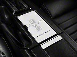 Modern Billet Chrome Cup Holder Cover - Tri-Bar / Mustang Lettering (10-14 All)