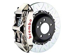 Brembo GT Series 6-Piston Front Big Brake Kit with 15-Inch 2-Piece Type 3 Slotted Rotors; Nickel Plated Calipers (05-14 Standard GT, V6)