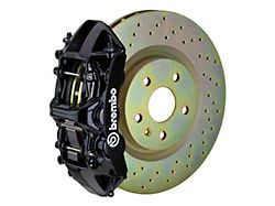 Brembo GT Series 6-Piston Front Big Brake Kit with 14-Inch 1-Piece Cross Drilled Rotors; Black Calipers (05-14 Standard GT, V6)