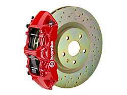 Brembo GT Series 6-Piston Front Big Brake Kit with 14-Inch 1-Piece Cross Drilled Rotors; Red Calipers (05-14 Standard GT, V6)